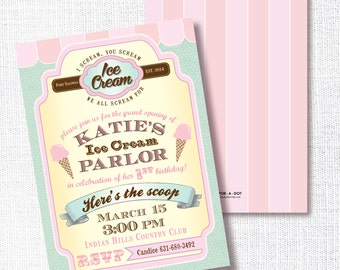 Ice Cream Parlor Birthday Party invitation, Printable, Vintage Ice Cream Shoppe Invite, Pink and Mint, Retro, Girl, Here's the Scoop