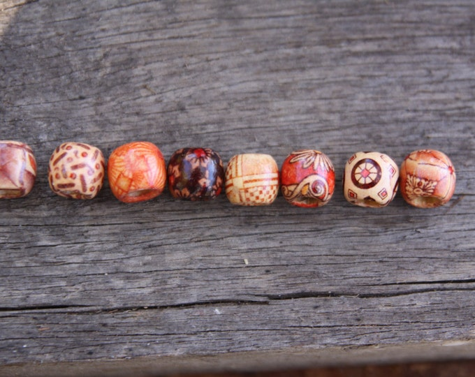 16 Wooden Dreadlock Beads 5mm Hole (3/16 Inch) & FREE Tibetan Bead