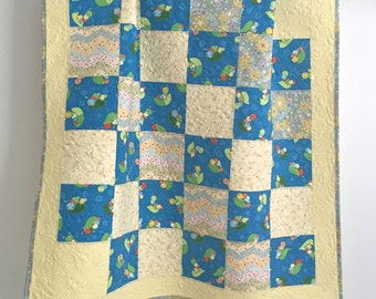 Modern Patchwork Baby Girl Quilt Whimsical Bugs Blue Green Yellow Pink