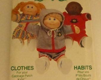 Vintage Butterick Pattern 6511 Cabbage Patch Kids TShirt Shorts Jacket Dress Factory Fold Uncut
