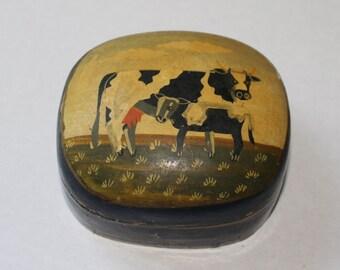 Vintage Hand Painted Cow Box - Paper Mache - Primitive Art - Rustic - Trinket Box - Kitchen Decor - Collectibles - Cow Decor
