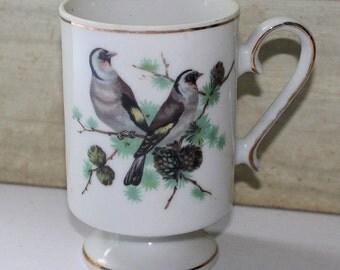 Royal Crown Porcelain Footed Mug - Birds - Vintage - Collectibles - Coffee Mug - Gold Trim - Pine Cones
