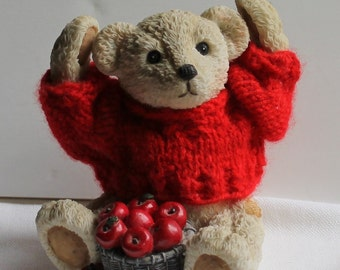 Bear Figurine - Apple Picking - Red Sweater - Collectible - Home Decor - Vintage - Apples - Fall