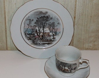 Vintage Avon Currier & Ives Porcelain Plate and Cup and Saucer Set - Collectibles - Home Decor - Winter Landscape - 1977 - Americana