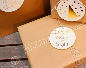 10 Gold Foil Christmas Swing Tags - Merry And Bright. Gold Foil Gift Tags. Gold Tags.