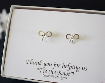 4 Bow Earrings Small Sterling Silver, Tie the Knot Earrings, Jr Bridesmaid Gift, Flower Girl Gift, Thank you card, Bow Earrings