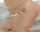 Turquoise & gold coin Layered Anklet, Boho chic triple chain ankle bracelet, three (3) strands, beach wedding, multi strand goddess anklet