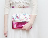 KATIE 5 / Cotton fabric & Natural leather folded clutch bag with leather tassel - Ready to Ship