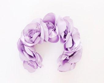 LAVANDER / Fabric flower oversized kokoshnik / floral crown-OOAK - Ready to Ship
