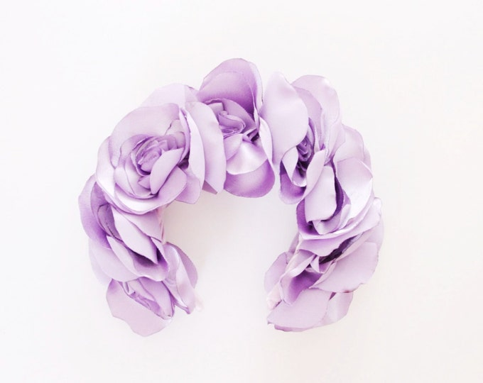 SALE! Floral crown. Satin fabric flower. Wedding crown. Flower headband. Hair accessories. Bridal hair piece. Festival clothing. /LAVANDER