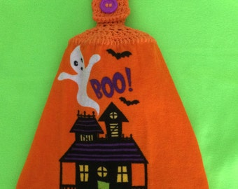 Halloween - Haunted House - Ghost - BOO! - Bats - Hanging towel - Crochet top - Button top