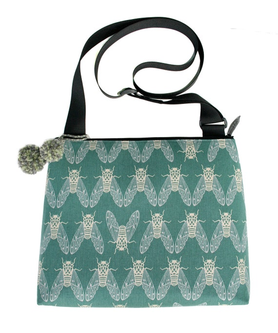 Cicadas, green, Japanese, silkscreen, green, pom poms, large, cross body bag