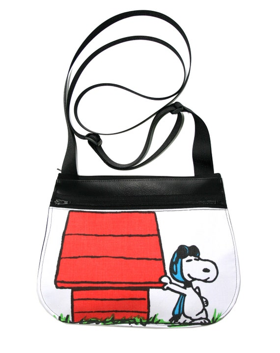 Snoopy, The Red Baron, black vinyl, cross body, vegan leather, zipper top