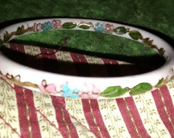 Cloisonne  White Blue Gold Pink Floral Enameled Bangle Bracelet