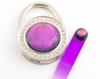 Pink Purse Accessories, Gift Set for Her, Purse Hook, Handbag Hanger, Bag Hook, Crystal Nail File, Dichroic Glass, Rhinestone Design,