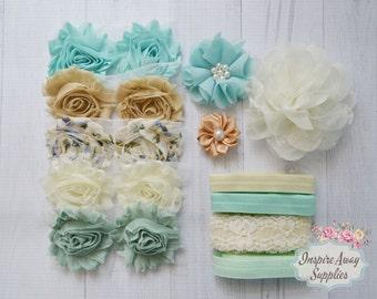 Vintage Blues~Shabby Chic headband kit #16, baby shower headband kit, DIY baby headbands, headband station, shabby chic baby headbands