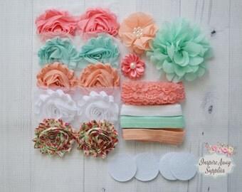 Coral/peach Shabby Chic headband kit #16, baby shower headband kit, DIY baby headbands, headband station, shabby chic baby headbands