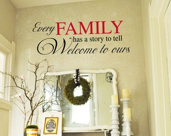 EVERY Family has a stor to tell - Welcome to Ours - Family Vinyl Wall Decal -  Entryway Vinyl Lettering 39+ Colors