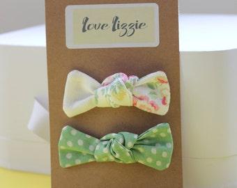 Cath Kidston floral, green spot, cotton, fabric, hair bows, clips