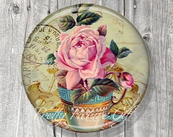 Pocket Mirror - Flowers Tea Cup, Tea Party Gift, Bridal Shower Party Favors, Pink Rose Compact Mirror Vintage Tea Cup, Gift under 5 - A149