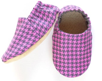 Baby Girl Shoes, Soft Sole Baby Shoes, Baby Booties, Houndstooth Baby Girl Soft Shoes, Slip On Baby Shoes, Baby Girl Gift