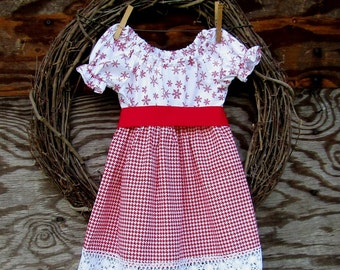 Girls Christmas Dress, Girls Red Dress, Red Lace dress, Kids Holiday Dress, Red snowflake dress