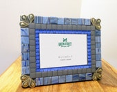 Mosaic Picture Frame in Blue and Gray - 4 x 6 or 5 x 7 Photo Frame