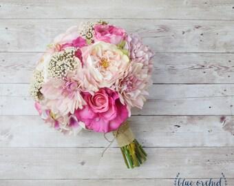 Pink Wedding Bouquet, Silk Bouquet, Peony Bouquet, Shabby Chic, Bouquet, Rustic, Silk Flowers, Faux Bouquet, Pink, Wedding Bouquets
