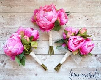 Peony Bridesmaid Bouquet - Hot Pink Peony Bouquet, Pink Bridesmaid Bouquet, Pink Peony Bundle