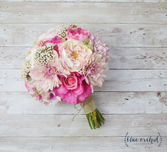 Pink wedding bouquet silk bouquet peony bouquet shabby for Bouquet chic