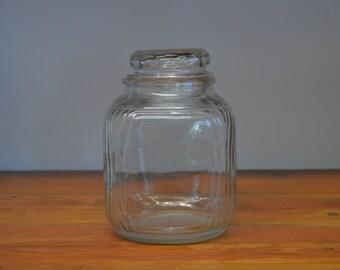 Vintage Duraglas square glass kitchen jar Art Deco style with Dakota thumbprint style lid