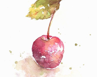 Fruit, fruit print, art, watercolor painting, watercolor art print, watercolor,Red cherry--- original watercolor print