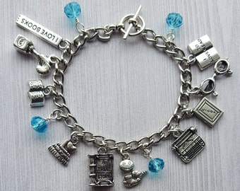 Book Lover Book Worm Club I Love Reading Charm Bracelet