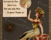 Wine to drown your LOVE troubles, ANTIQUE Illustration, Dwig Postcard, Instant Digital Download