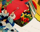 High Note Serenade, Art Deco Illustration, Vintage Postcard, Instant Digital Download