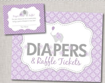 Purple Diaper Raffle Printable Insert Cards and Sign / Purple Elephant Baby Shower Diaper Raffle