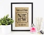Latitude Longitude Sign | House Warming Gift | Bridal Shower Gift | Wedding Gift | Home Decor Sign | New Home Housewarming | Valentines Day