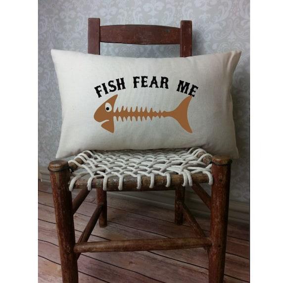 Man Cave Fishing Decor : Fish pillow lumbar fisherman gift man cave decor
