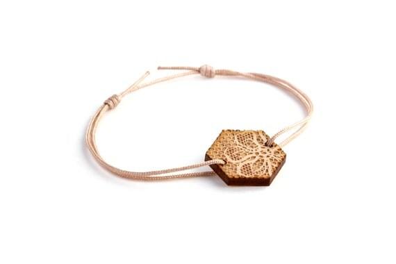 Hexagon bracelet with lace pattern - 25 colors - wedding bangle - adjustable bracelet - lasercut maple wood - bride jewelry - customizable