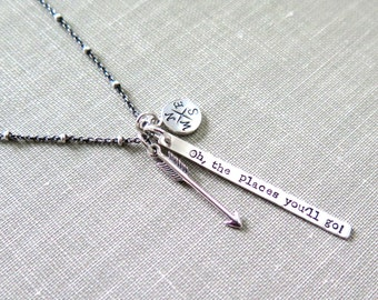Oh The Places You'll Go, Bar Necklace, Travel Necklace, Dr. Suess, Arrow Necklace, Sterling Silver Necklace