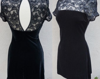 Vintage Black Cocktail Dress, Black Velvet Dress, Black Party Dress, Stretch Velvet, Little Black Dress, Short Black Dress, Short Sleeves