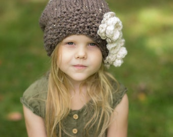 Slouchy Hat with Textured Knit Brim, Flowers, & Striped Back