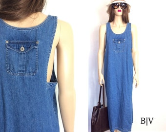 90's Dress 90's Denim Dress 80's Dress Minimalist Dress Vintage Maxi Dress Hippie Dress Boho Dress Long Denim Dress Grunge Dress H