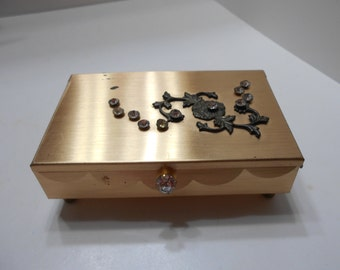 Vintage Footed Gold Tone & Rhinestone Trinket Box (4768BP)