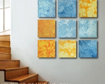 Huge Abstract Painting / Blue and Yellow abstract painting/ ORIGINAL  wall art/ 45 x 45  Painting / Industrial abstract painting