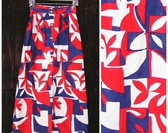 Vintage 70s Maxi Skirt, Red White & Blue Skirt, Button Front Skirt, Alex Colman California