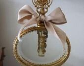 Gold beveled glass Perfume Bottle shabby cottage chic vintage ormolu embellished w/ rhinestones ornate collectible anita spero design