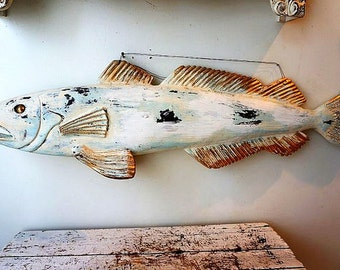 Distressed wooden fish sculpture shabby cottage chic large beachy blue white fishy wall hanging hand carved home decor anita spero design