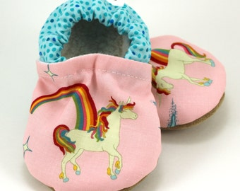 SALE - baby unicorn shoes, tula booties, unicorny tula, pink and blue baby girl shoes, soft sole shoes unicorn slippers toddler shoes with