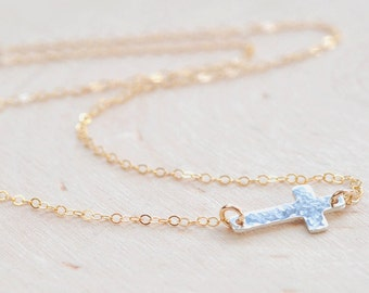 Sideways Cross Necklace in Sterling Silver and Gold Fill, Silver Cross Necklace, Hammered Cross, Christian Necklace, Small Cross Necklace